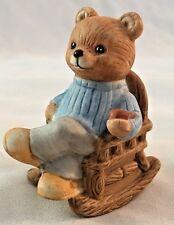 "Brown Homco 2 1/2"" Ceramic Bear in Rocking Chair Figurine"