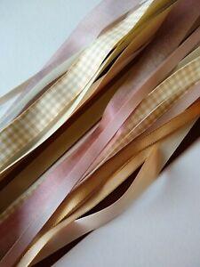 Coffee & Cream Ribbon Bundle - 15 x Generous Metres - Assorted Widths & Types