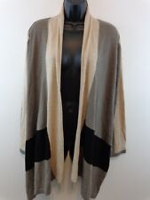 August Silk Women Open Front Cardigan Sweater Medium Taupe/Black New With Tags