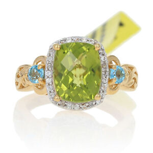 Sterling Silver Peridot, Topaz, Zircon Ring 925 Gold Plated 4.77ctw Halo Size 6