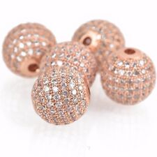 1 Rose Gold Micro Pave' Round Bead w/ Cubic Zirconia Crystals, 12mm, bme0421