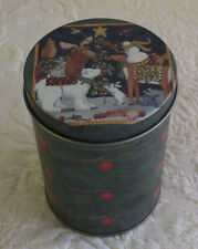 """Old Time Pottery Small Metal Round Candy Tin Christmas Holiday Scene 4"""" T 3"""" D"""