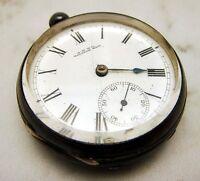 Antique Waltham Pocket Watch Key Wind Thick Crystal Silver Case