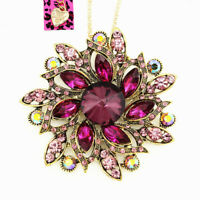 Colorful Crystal Big Flower Pendant Chain Betsey Johnson Necklace/Brooch Pin
