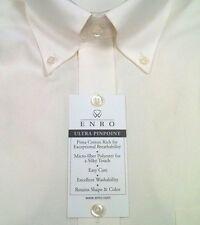ENRO Dress Shirt Cotton Blend Ultra Pinpoint BD Collar $68 NWT 18-34/35 Ecru