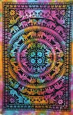 Elephant Mandala Twin Tapestry Multi Bedcover Wall Hanging Textile Indian Ethnic