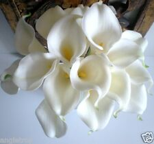 CALLA LILY WEDDING BOUQUET POSY REALTOUCH LATEX ARTIFICIAL 18 FLOWERS WHITE YS