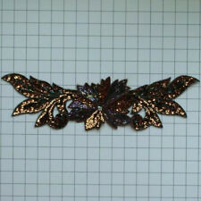 "BRONZE FLOWER SPRAY 15.75"" SEQUIN BEADED APPLIQUE 2580-X"