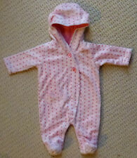 NWT Target Girls Spots Hearts Coral Fleece Romper Coverall Size 0000 or 00