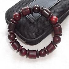 "Delicate 3 Shape Rosewood Prayer Beads Yoga Meditation Wrist Mala Bracelet -7"""