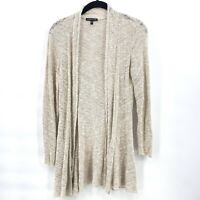 Eileen Fisher Small Open Front Linen Viscose Nylon Cardigan Sweater Beige
