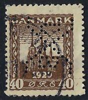 Denmark Perfin S65-SXJ: S. Johannesons Fabriker (1921-26), 40 ore Brown, RF:30