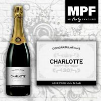 Personalised Champagne/Prosecco Bottle Label - Birthday Gift - Any Age (Silver)