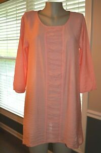 CUT LOOSE PEACH RUCHED FRONT PANEL CRINKLE TECTURE RAYON/NYLON TUNIC TOP, small