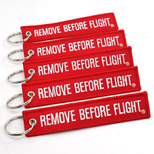 Best Remove Before Flight Key Chain 5 Pack Red with White Letters Double Sided