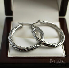 925 Sterling Silver Plated Twist Hoop Creole Earrings 30mm / 3cm - UK - New 103