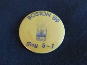 Vintage 1989 APPLE FEST Boston Computer Trade Show Pinback Button PIN Tech Geek
