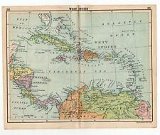 1909 Map Of West Indies Antique john bartholomew