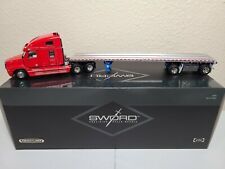 Freightliner Century Truck w/ East Flatbed Trailer - Red - Sword 1:50 Model New!