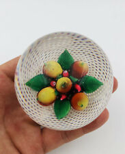 Antique New England Latticinio Pear & Cherry Glass Paperweight
