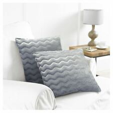 Country Club 2 Pack Wavy Cushion Covers With Crushed Velvet Style Reverse 43cm Grey