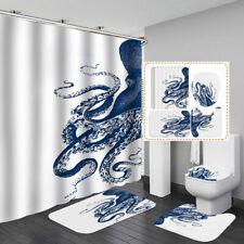 Octopus Bath Mat Toilet Cover Rugs Shower Curtain Bathroom Decor