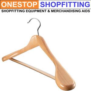 Wooden Broad Wide Shoulder Jacket Suit Display Anti-slip Trouser Bar Hanger 45cm