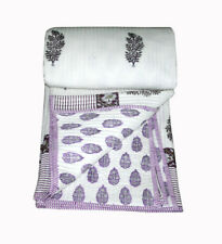Purple color Hand Print Blanket Quilt Bedspread Throw Jaipuri Rajai King Size