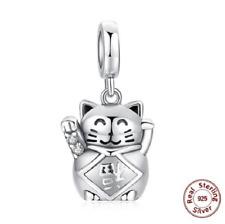 100% 925 Sterling Silver Luck Love Lucky Cat Beads Charm pandora
