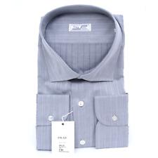 $640 NWT FRAY Gray Nailhead Striped Spread Collar Cotton Dress Shirt 16 1/2 L IV