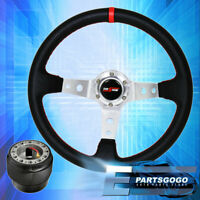 Deep Dish Black Steering Wheel Silver Center Red Stitching Hub For 96-15 Civic