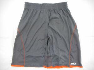 Boys STX Charcoal Gray & Orange Athletic Wicking Shorts Size 10/12