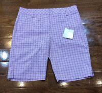 Womens Size 4 PUMA Golf Shorts Purple Plaid