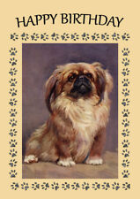 PEKINGESE CUTE PEKE SITTING DOG BIRTHDAY GREETINGS NOTE CARD