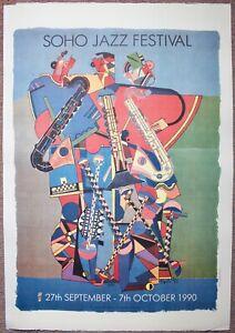 EDUARDO PAOLOZZI LITHOGRAPH - POP ART POSTER 1990 SOHO JAZZ FESTIVAL - COLLAGE.
