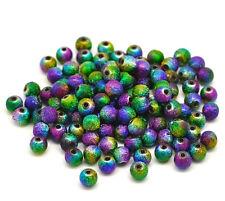100 Rainbow Stardust Acrylic Spacer Beads 6mm Wine Glass Charms Bracelets (83f)