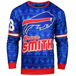 NFL Men's Buffalo Bills Bruce Smith #78 Retired Player Ugly Sweater