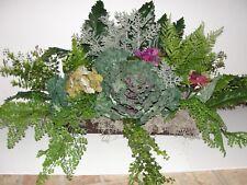 """Outdoor Autumn Winter Window Box Silk Arrangement for a 36"""" box Green an Magenta"""