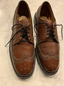 Vintage Bostonian V Cleat Brown  Long Wing Tip Shoes Size  10 USA