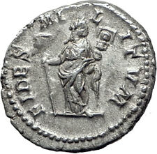 ELAGABALUS 218AD Authentic Ancient Silver Roman Coin Fides Trophy i65071