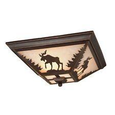 NEW 3 Light Rustic Moose Flush Mount Ceiling Lighting Fixture Bronze Amber Glass