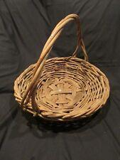 large basket vintage primitive woven branches twigs gathering basket with handle