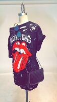 Rolling Stones T Shirt Classic Tongue Distressed Rip Over sized Dress Womens