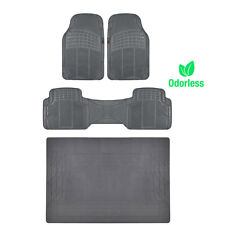 Premium Ridged Rubber Floor Mats / Cargo Trunk Liner Gray MOTORTREND Odorless