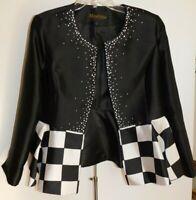 Moshita Couture Womans Blazer Plus Size 14 Beaded & Black & White