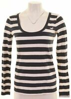 HOLLISTER Womens Top Long Sleeve Size 12 Medium Navy Blue Striped Cotton  CN29