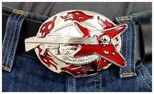 Buckle Gürtelschnalle  Gitarre Biker Rock  Heavy Metall