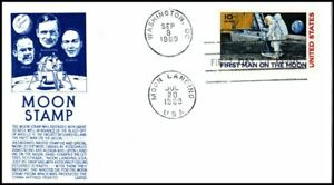 USA FDC 1969 First Man on Moon Stamp Moon Landing CDS First Day Cover