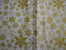 "christmas gold and white snow flake design flannel back table cloth 70"" x 52"""