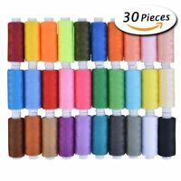 30 Spools Mixed Colors Polyester Sewing Quilting Threads Set All Purpose 250 Yar